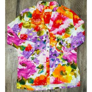 Jams World Womens Sorbet Floral Print Blouse S